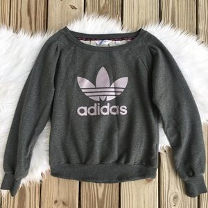 Adidas Trefoil Logo Spell Out Pleated Sweatshirt